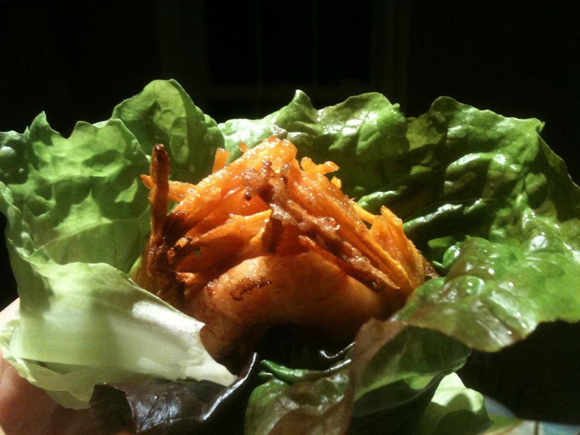 Sweet Potato and Shrimp Fritters in Lettuce Wrap